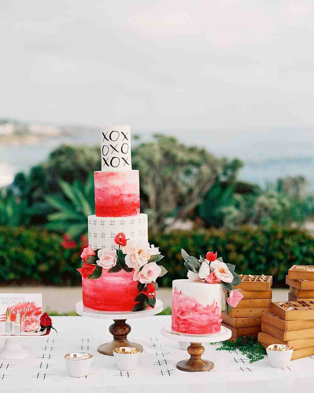 Bright Pink Wedding Cake with Blush and Pink Flowers
