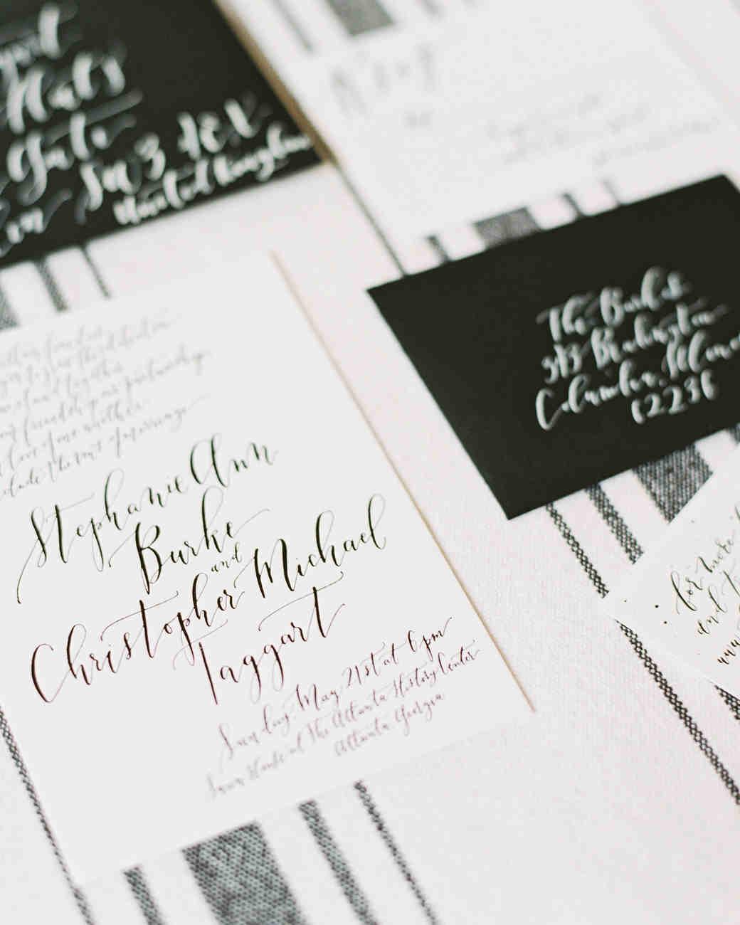wedding stationery black and white