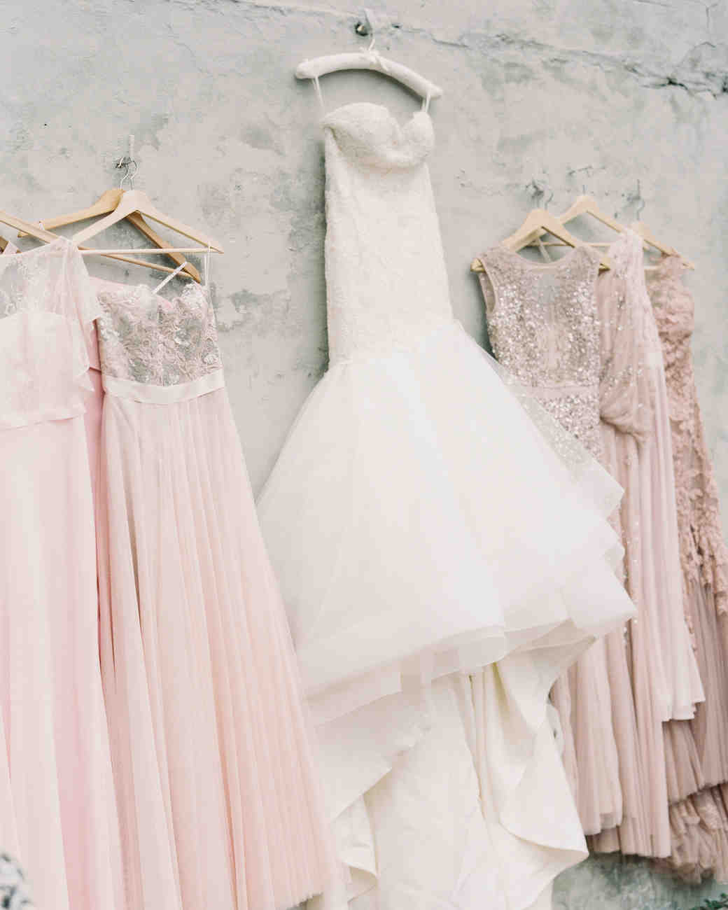 wedding dress pink bridesmaids dresses