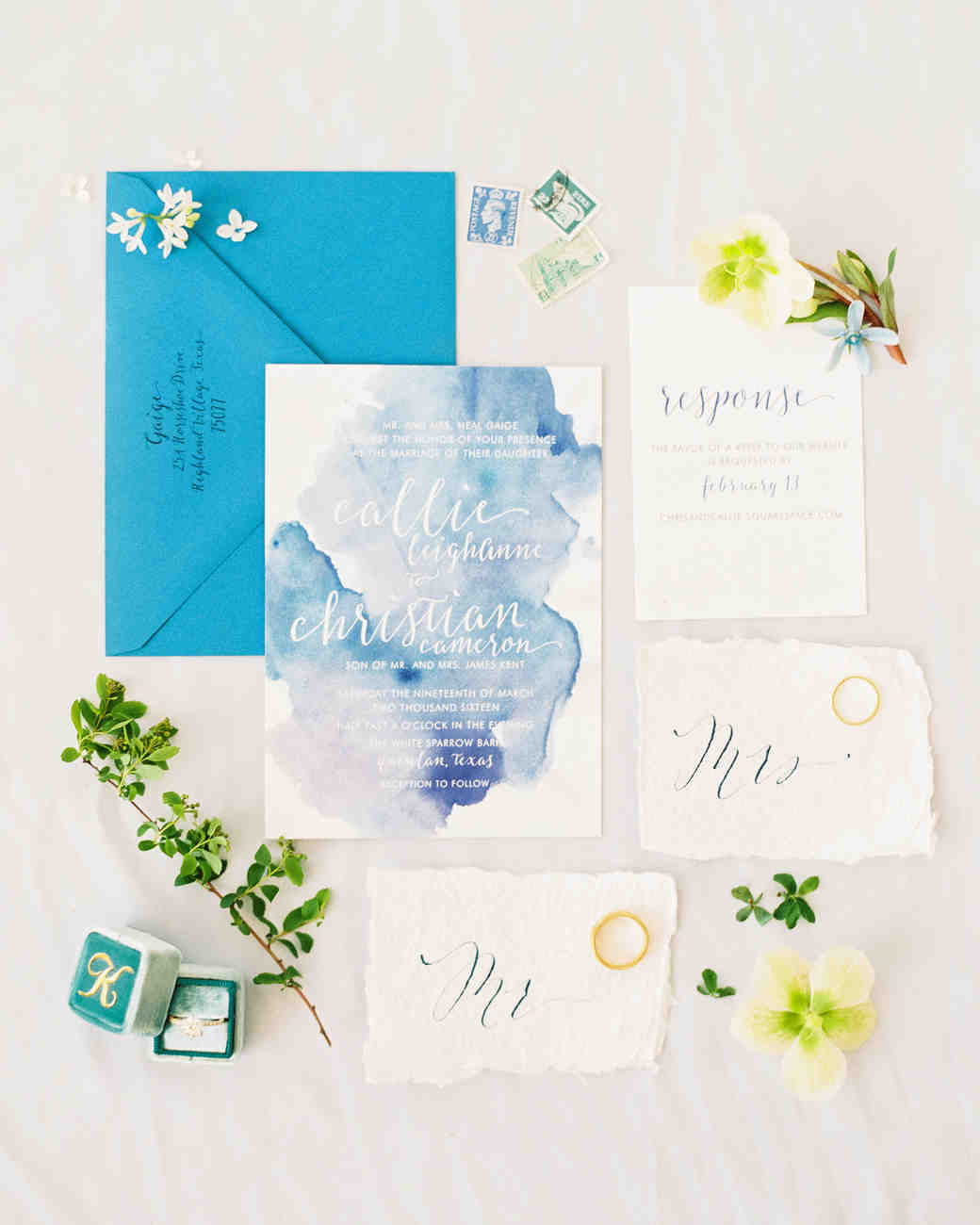 3f7401660f07 blue watercolor wedding invitation Photography  Becca Lea Photography