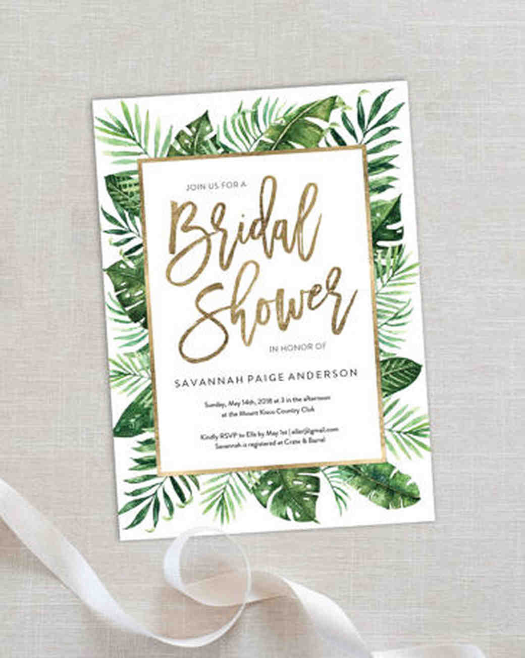 palm invitations just because the bridal shower