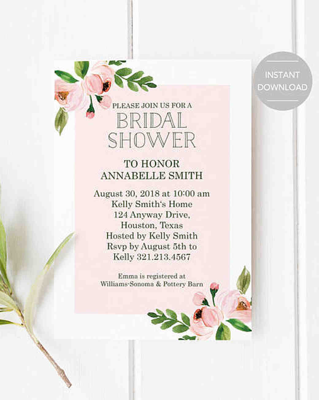 10 Affordable Bridal Shower Invitations You Can Print At Home | Martha  Stewart Weddings