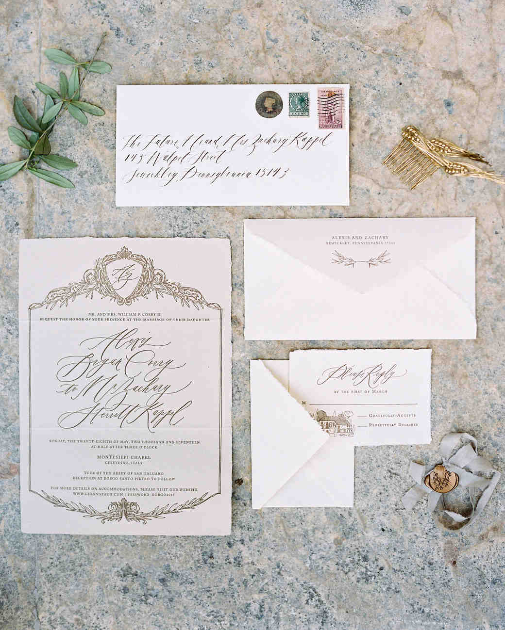 alexis zach wedding italy invitation