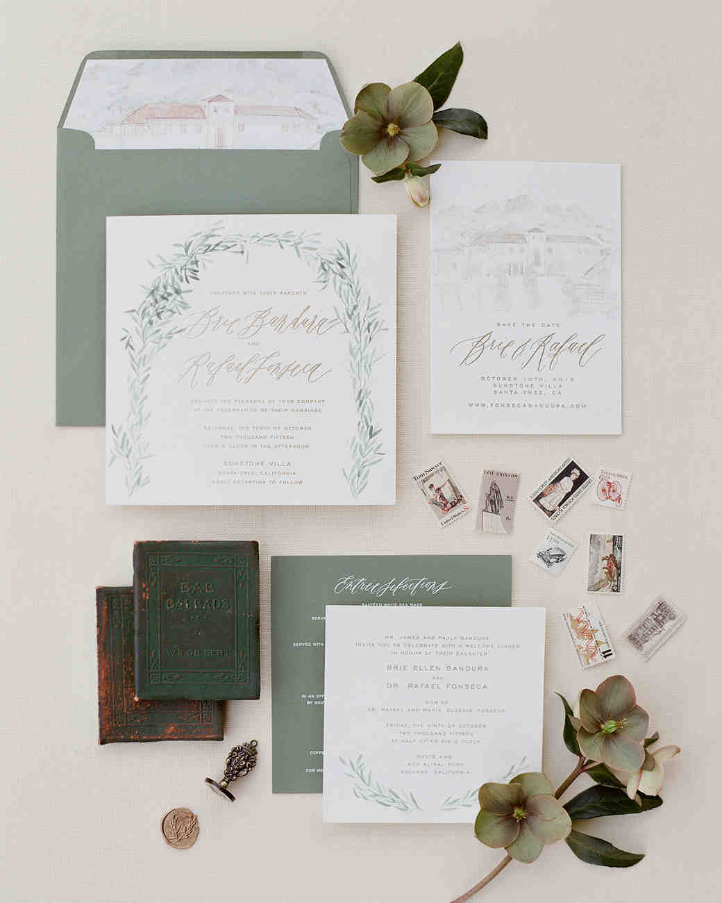 invitation suite with venue illustration