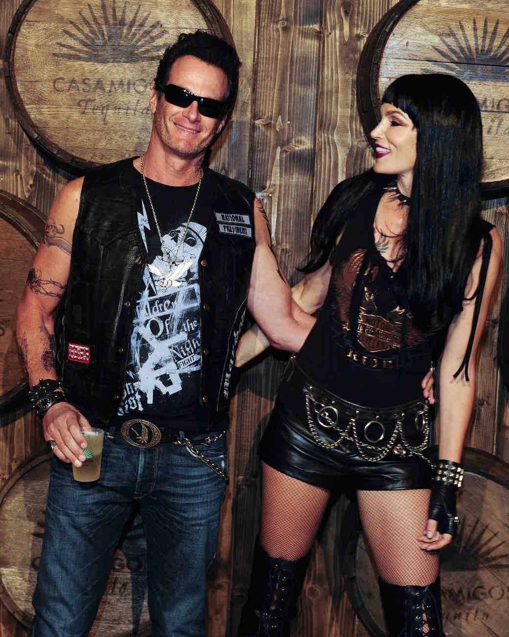 Cindy Crawford and Rande Gerber in Hells Angels Halloween Costumes