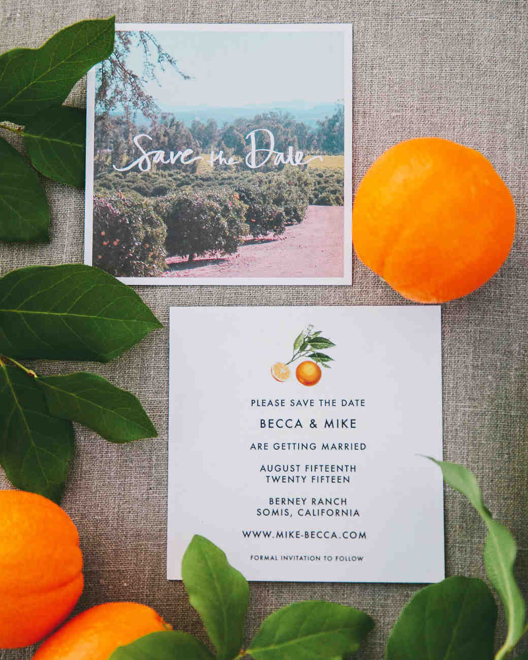 citrus save the date with photo