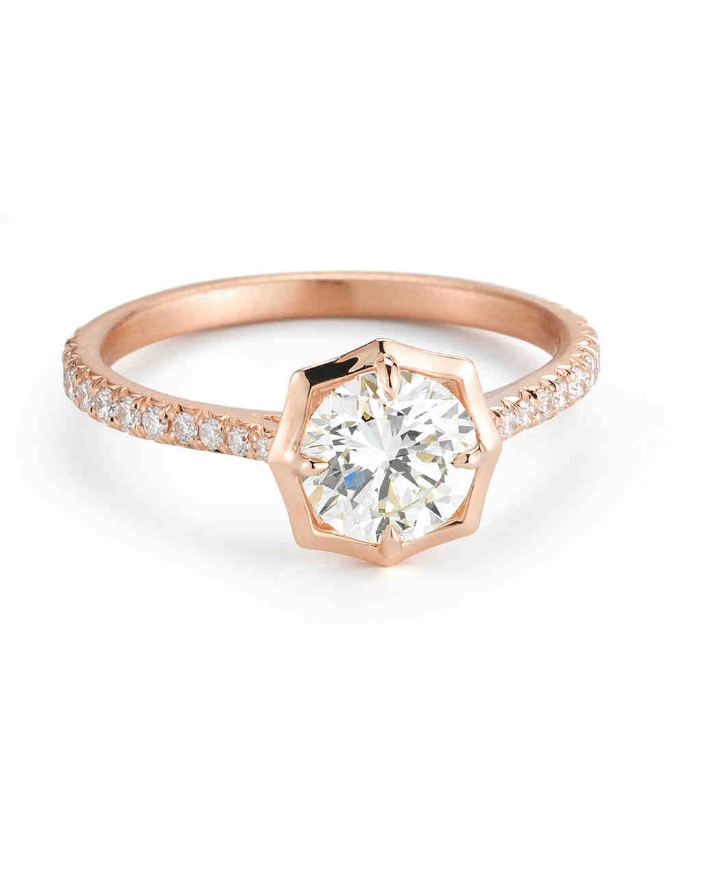 Forevermark by Jade Trau Round-Cut Rose Gold Engagement Ring with Matte Finish