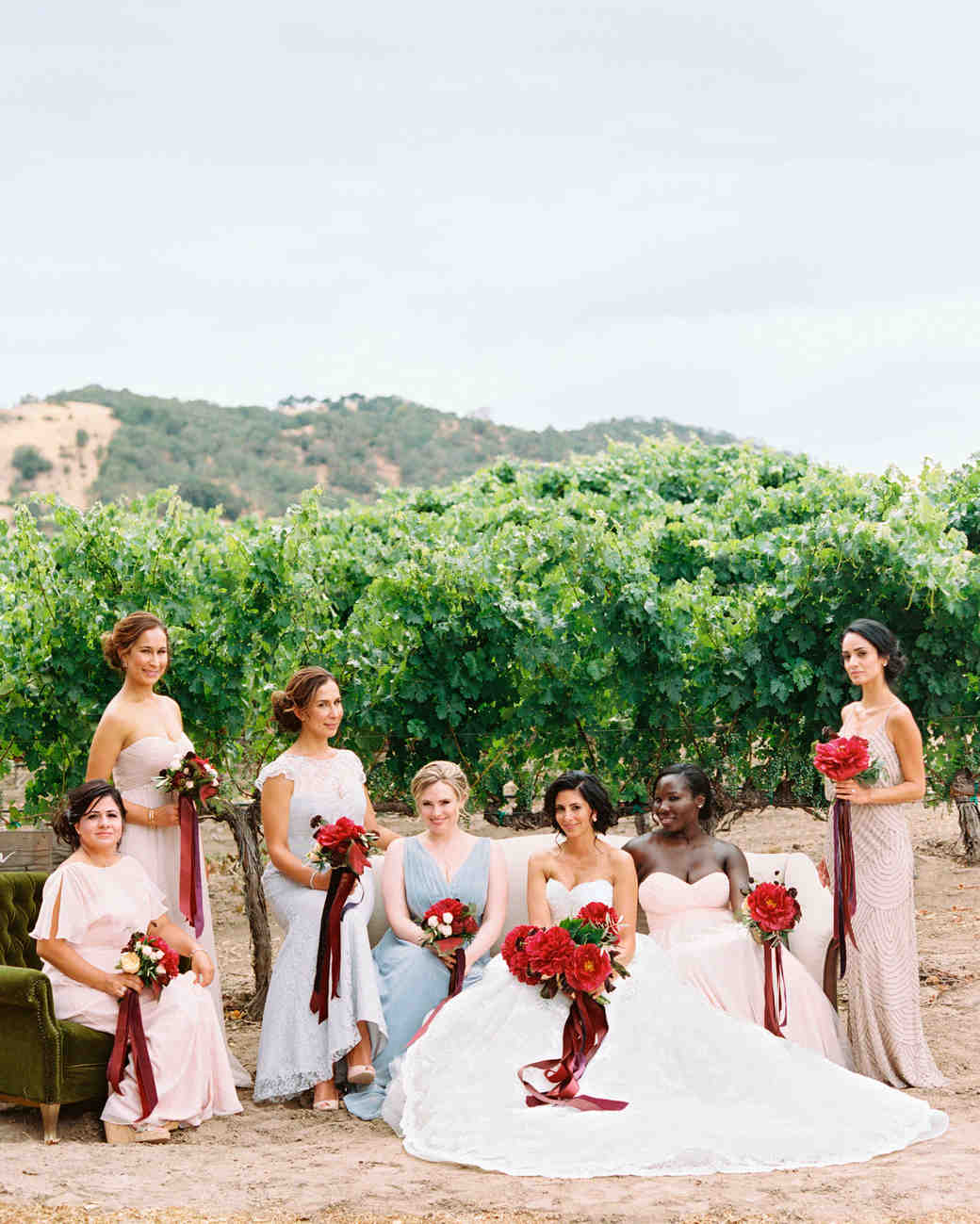 Mismatched Light-Colored Bridesmaid Dresses