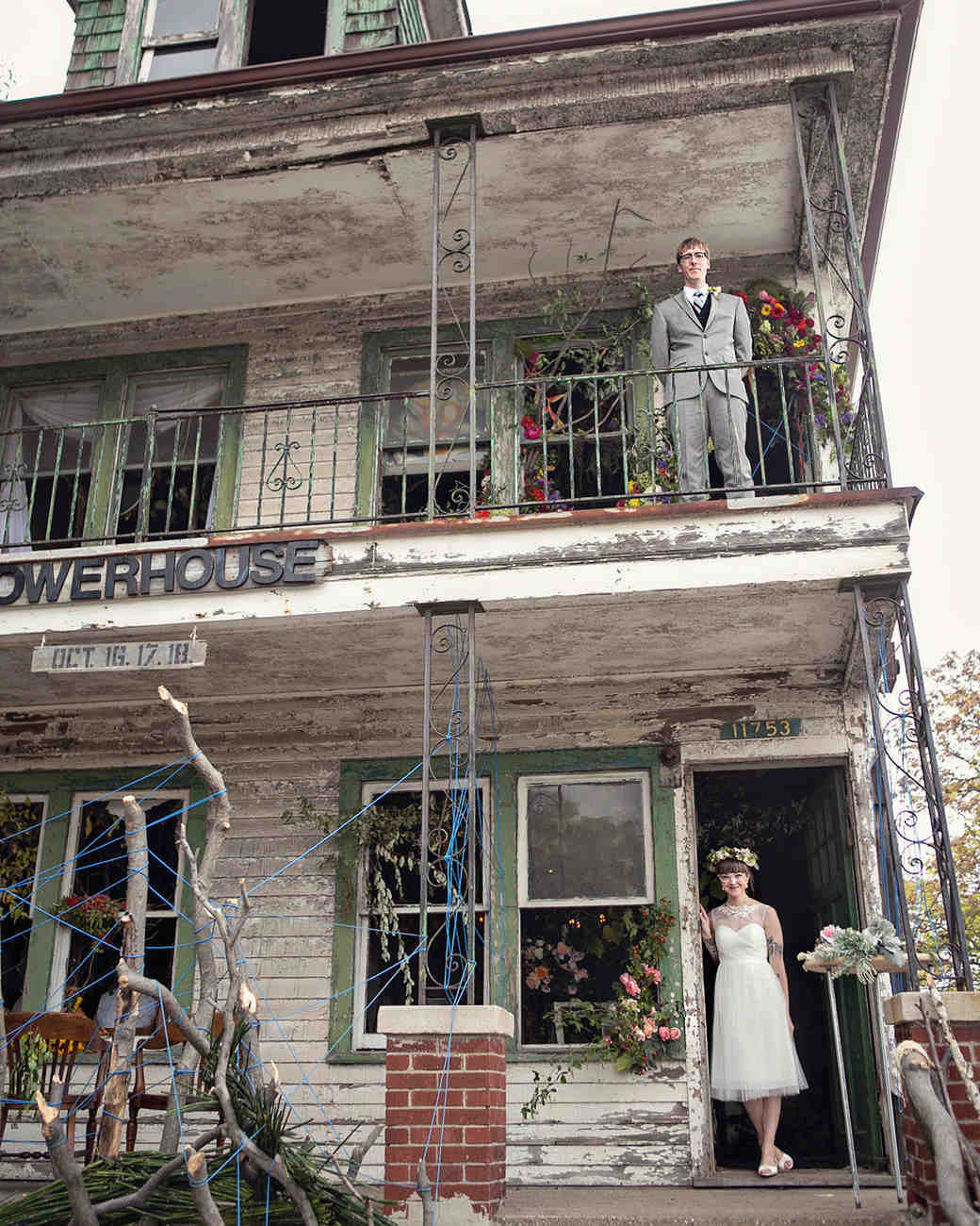 Bride and Groom Standing on Separate Porches