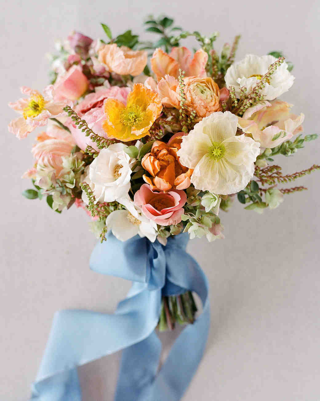 wedding bouquet blue bow