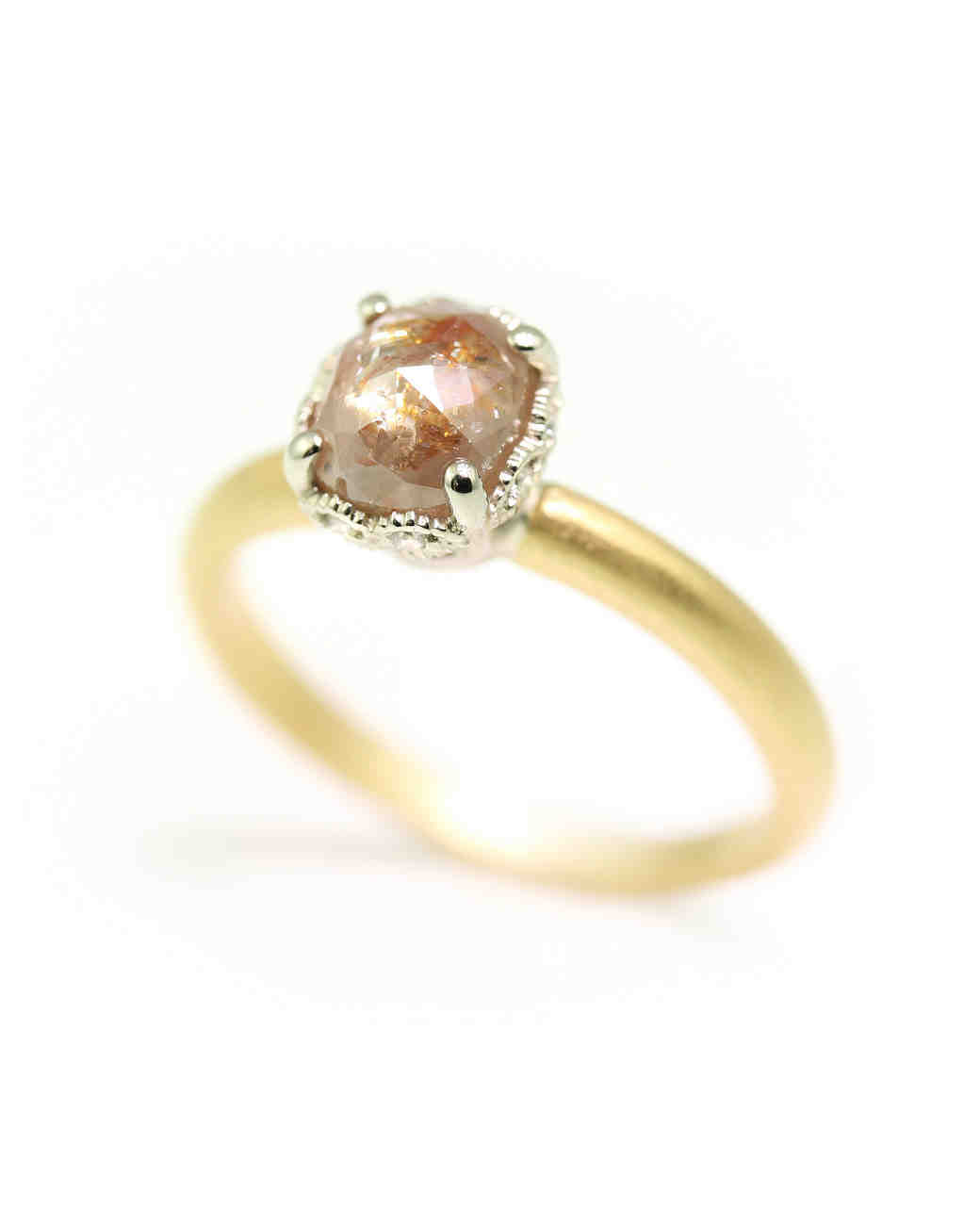 Megan Thorne Two Tone Ribbon Crown Cushion-Cut Engagement Ring