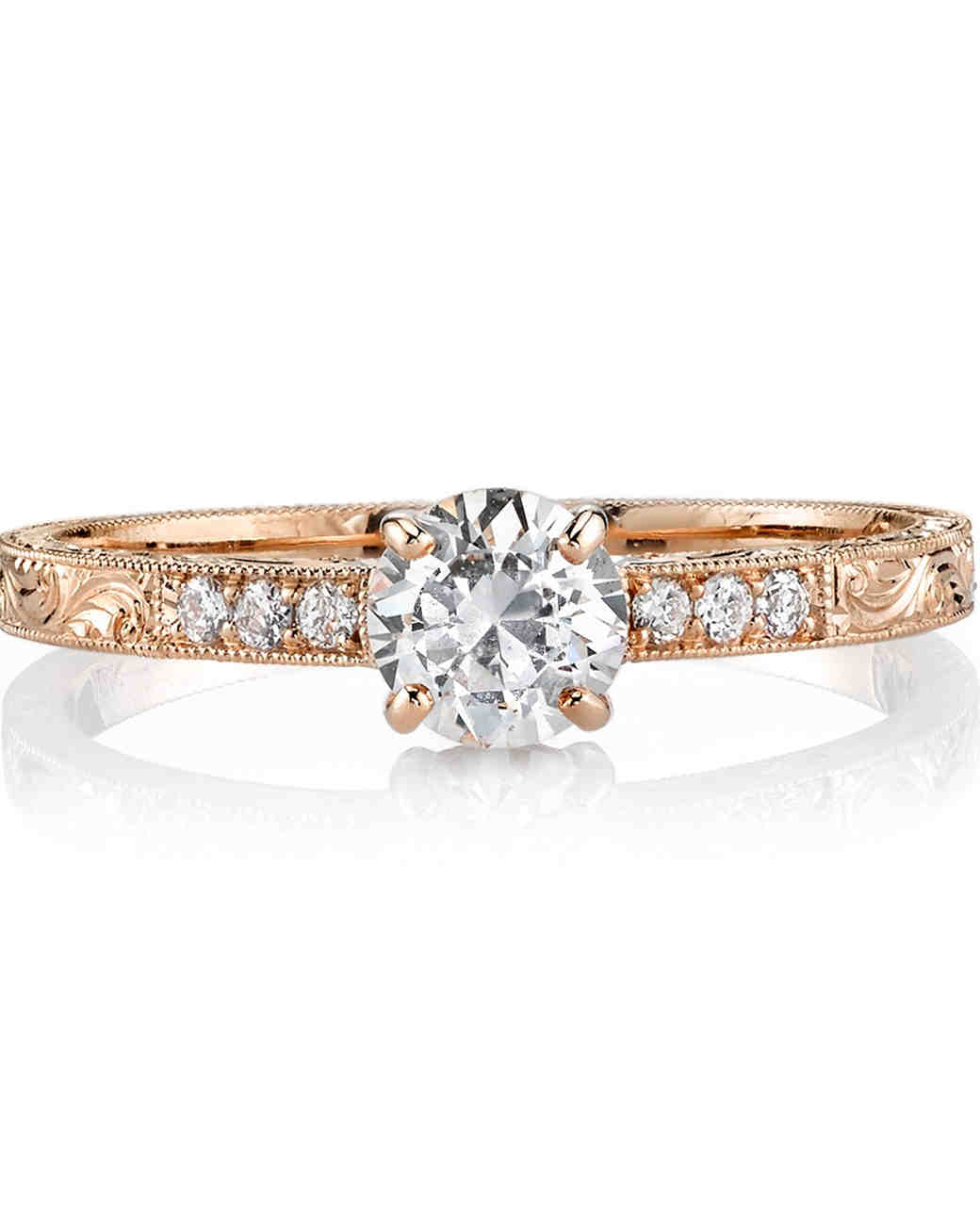 "Single Stone ""Eliza"" certified old European cut diamond set in rose gold"