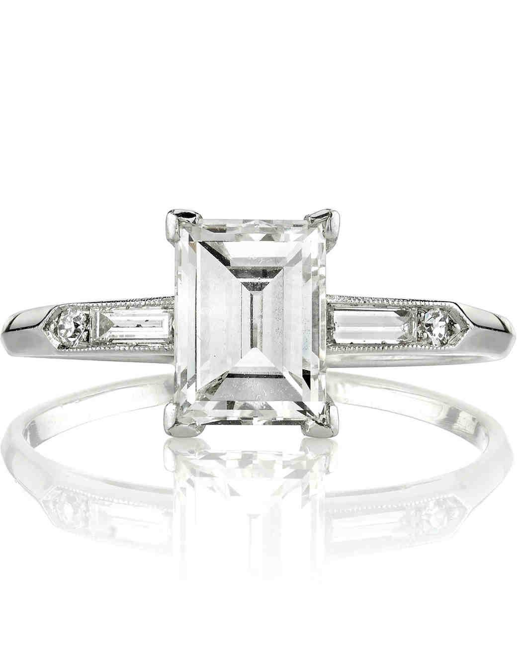 Single Stone vintage step-cut diamond engagement ring