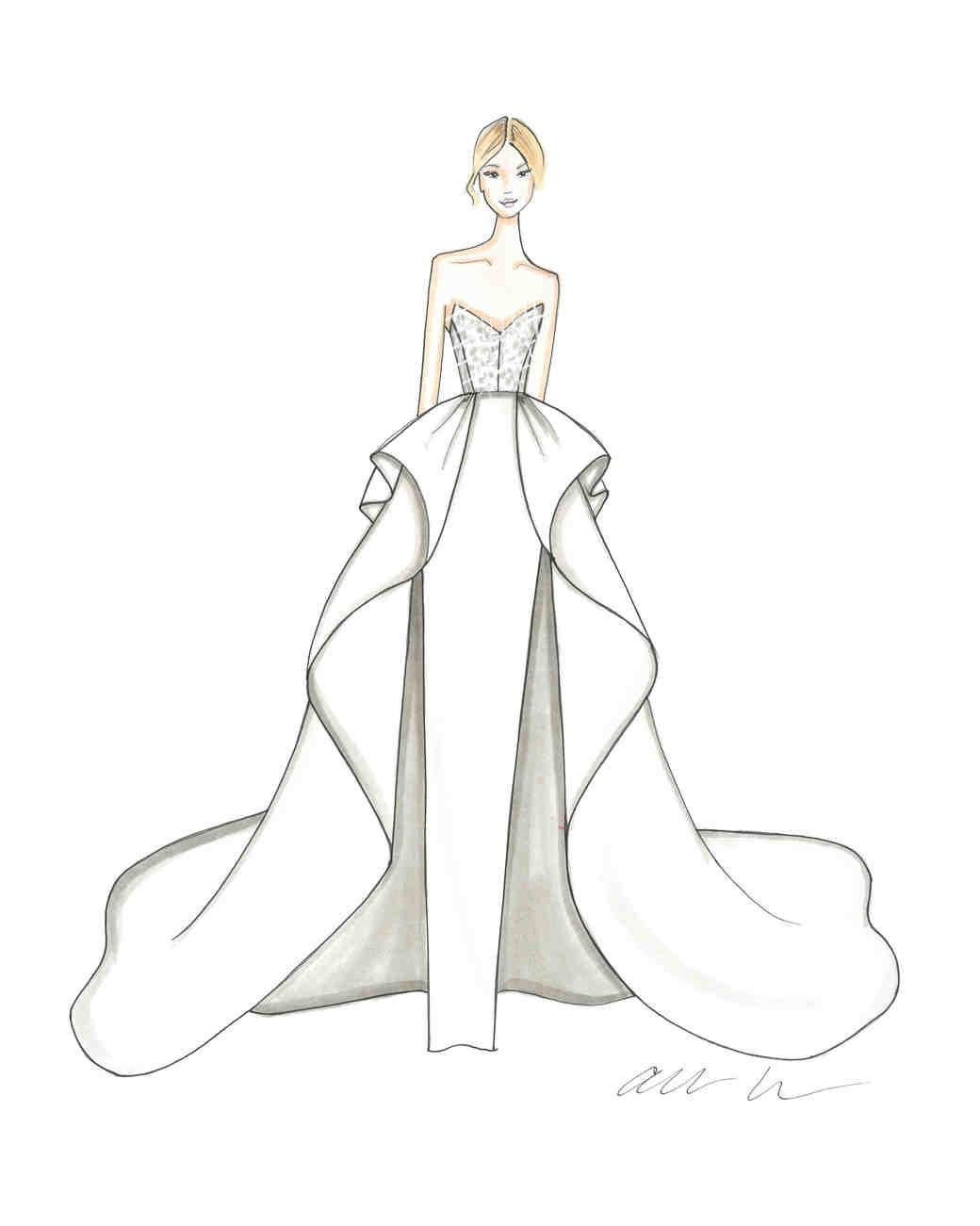 White Bridal Dresses Sketches
