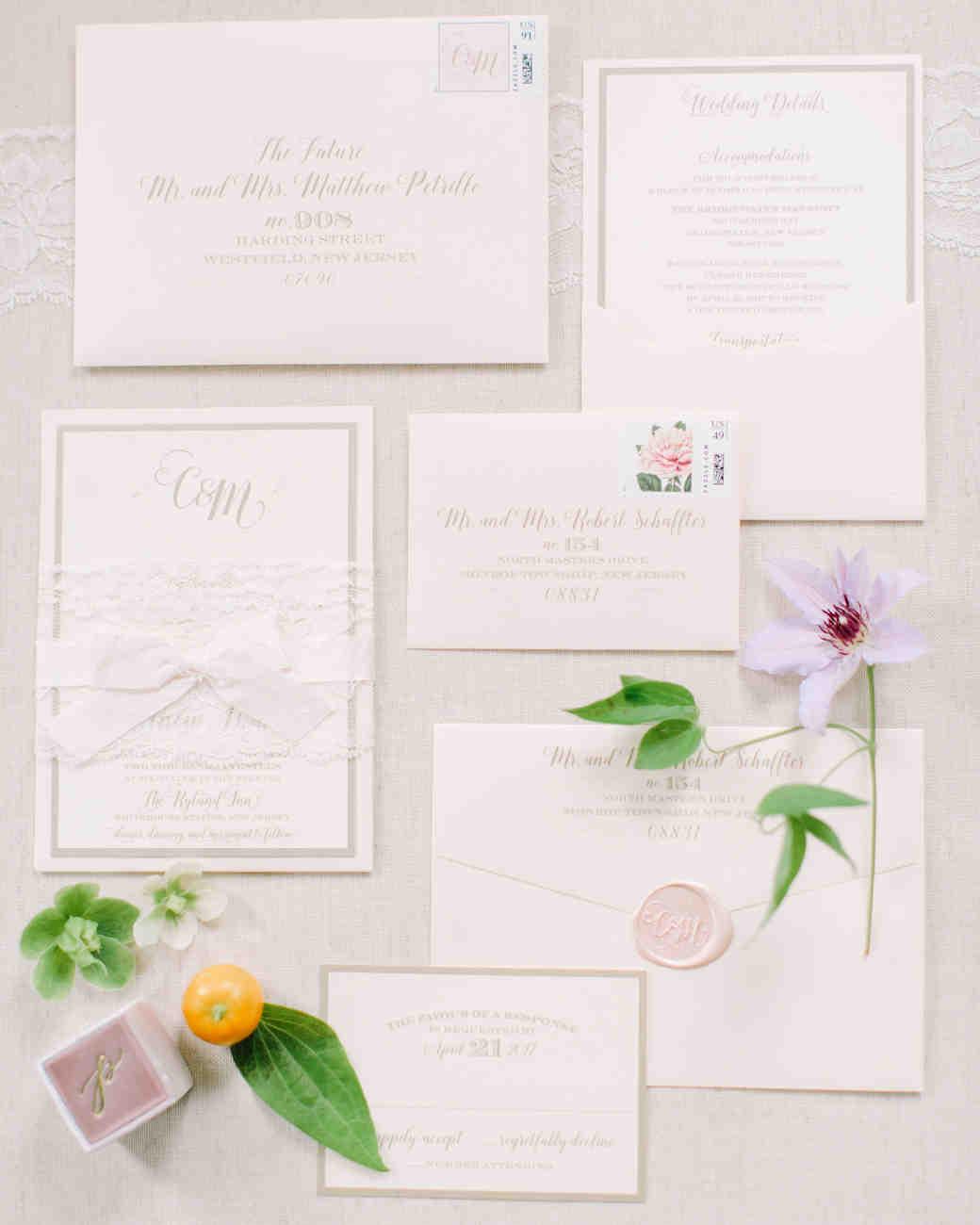 light-pink wedding invitation