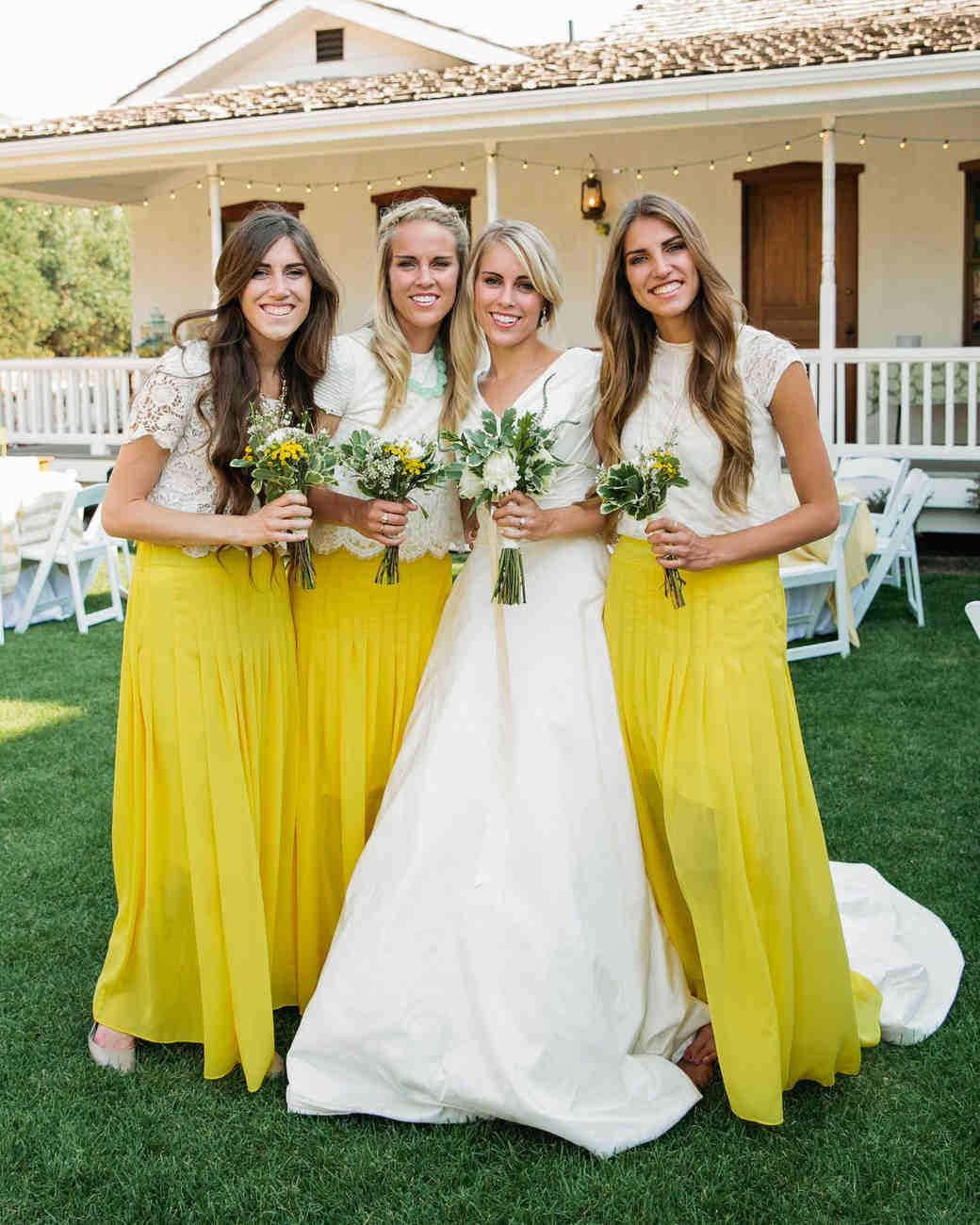 two piece bridesmaids callie hobbs photography yellow