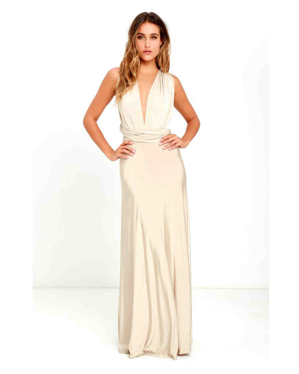 e0024db701c Neutral Beige Bridesmaids  Dresses Your Entire Wedding Party Will Love