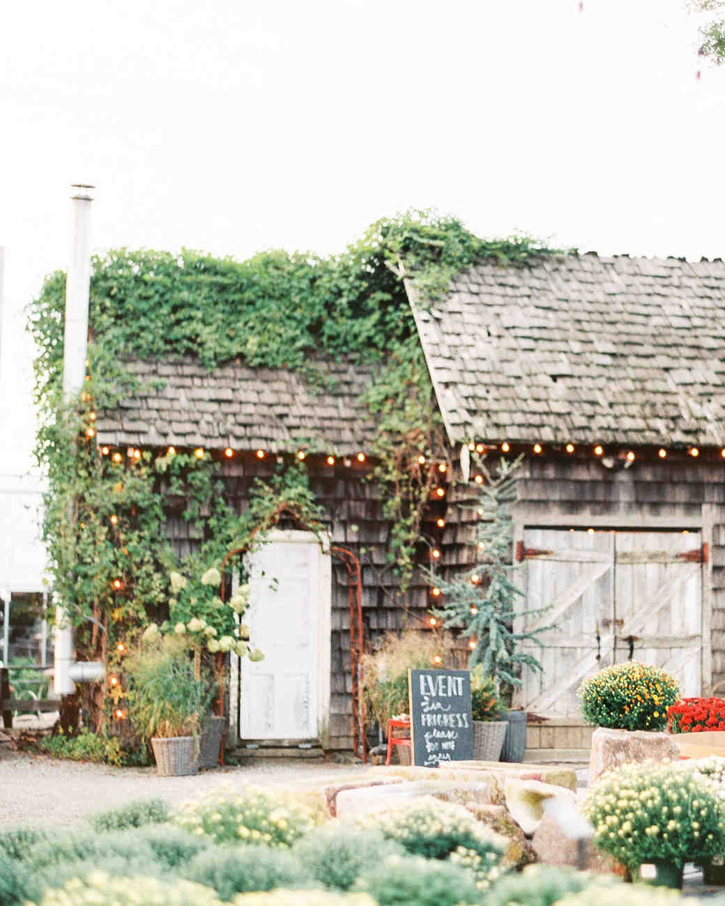 rustic house with greenery and plants