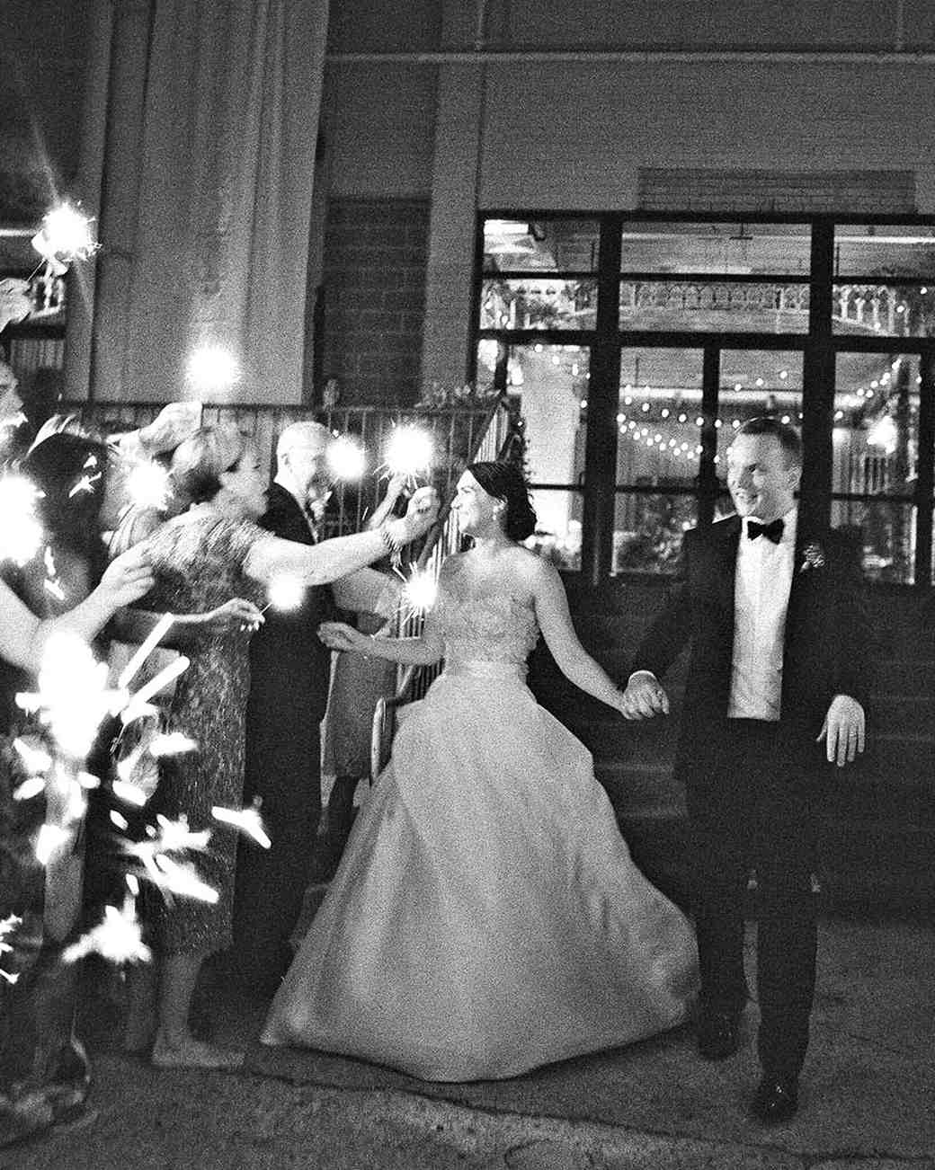 bride groom sparkler exit