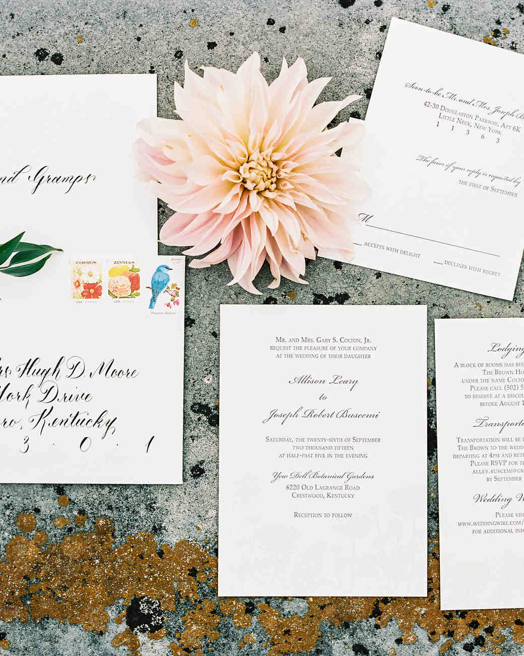 classic wedding invitation with pretty stamps