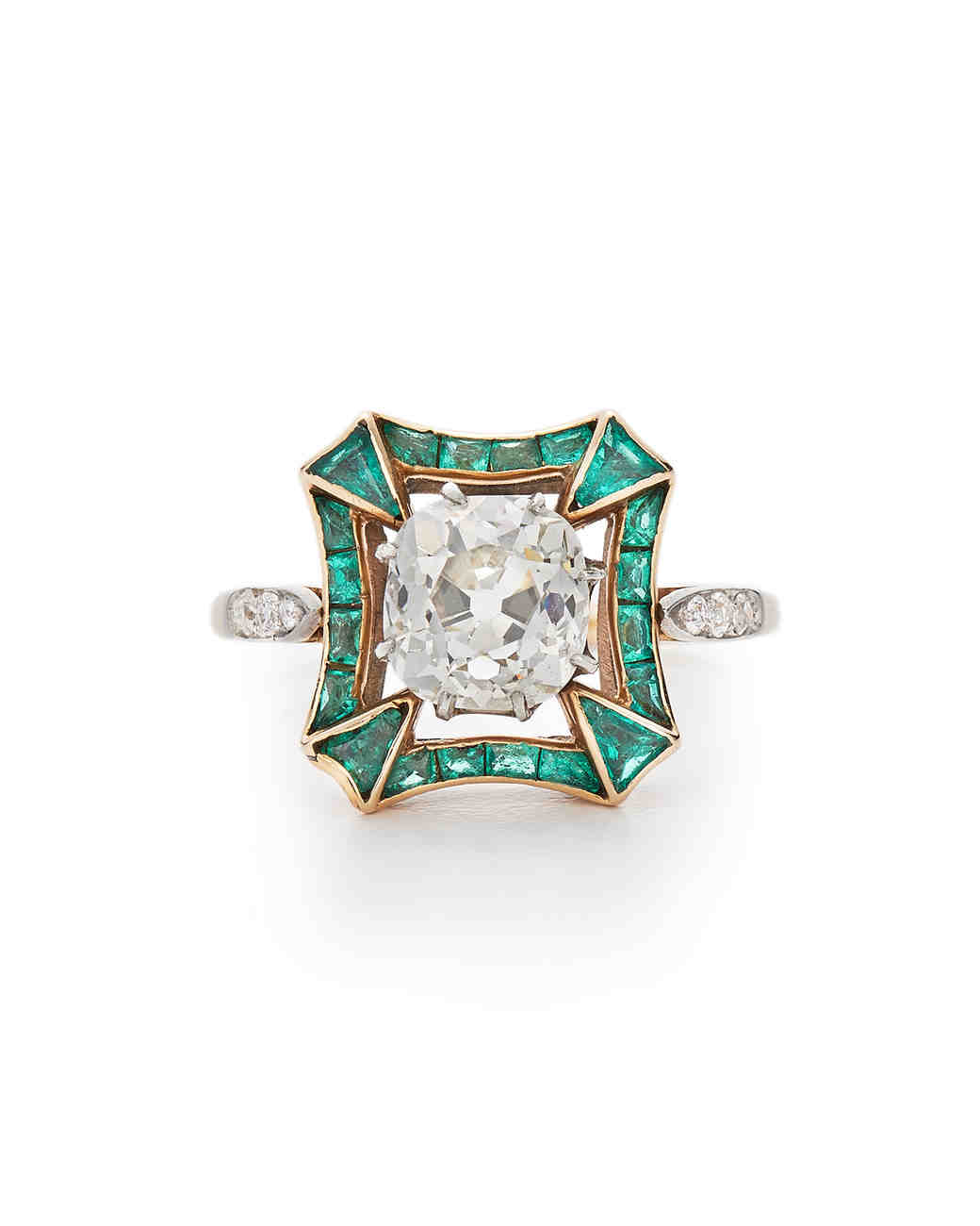 deco platinum art baguette ring emerald engagement gemstone rings jewellery diamond cut
