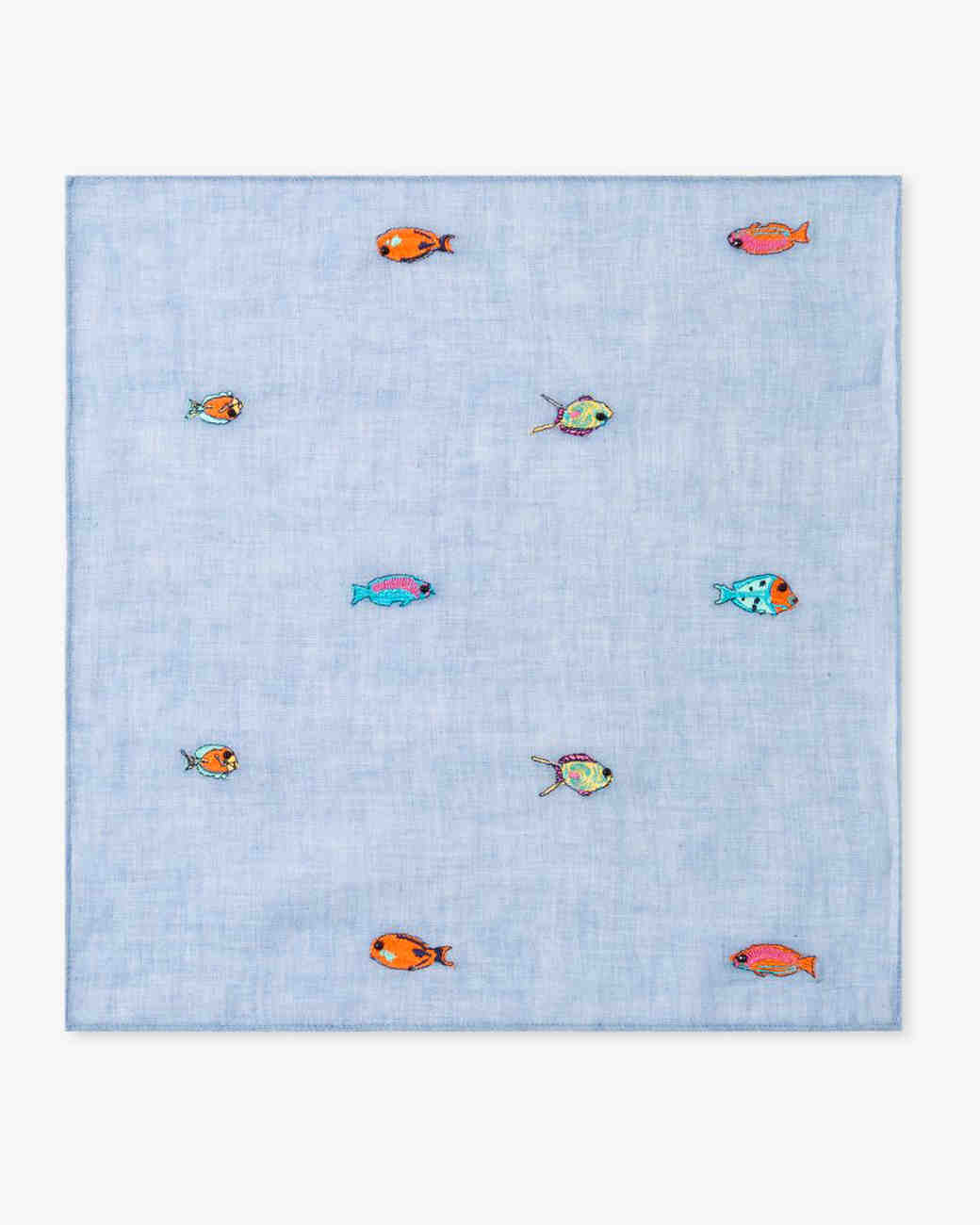 cotton anniversary gift fish pocket square