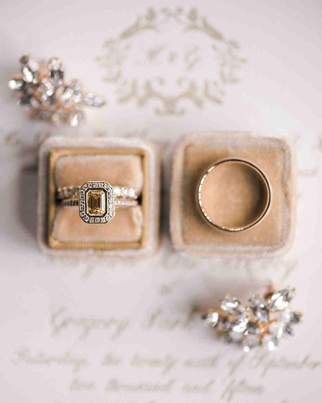 engagement rings yellow emerald cut stone