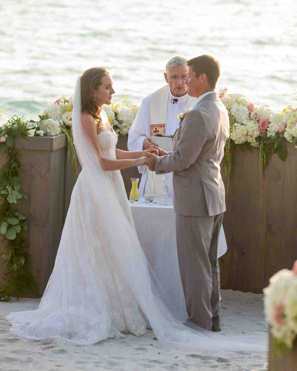bride and groom beach wedding