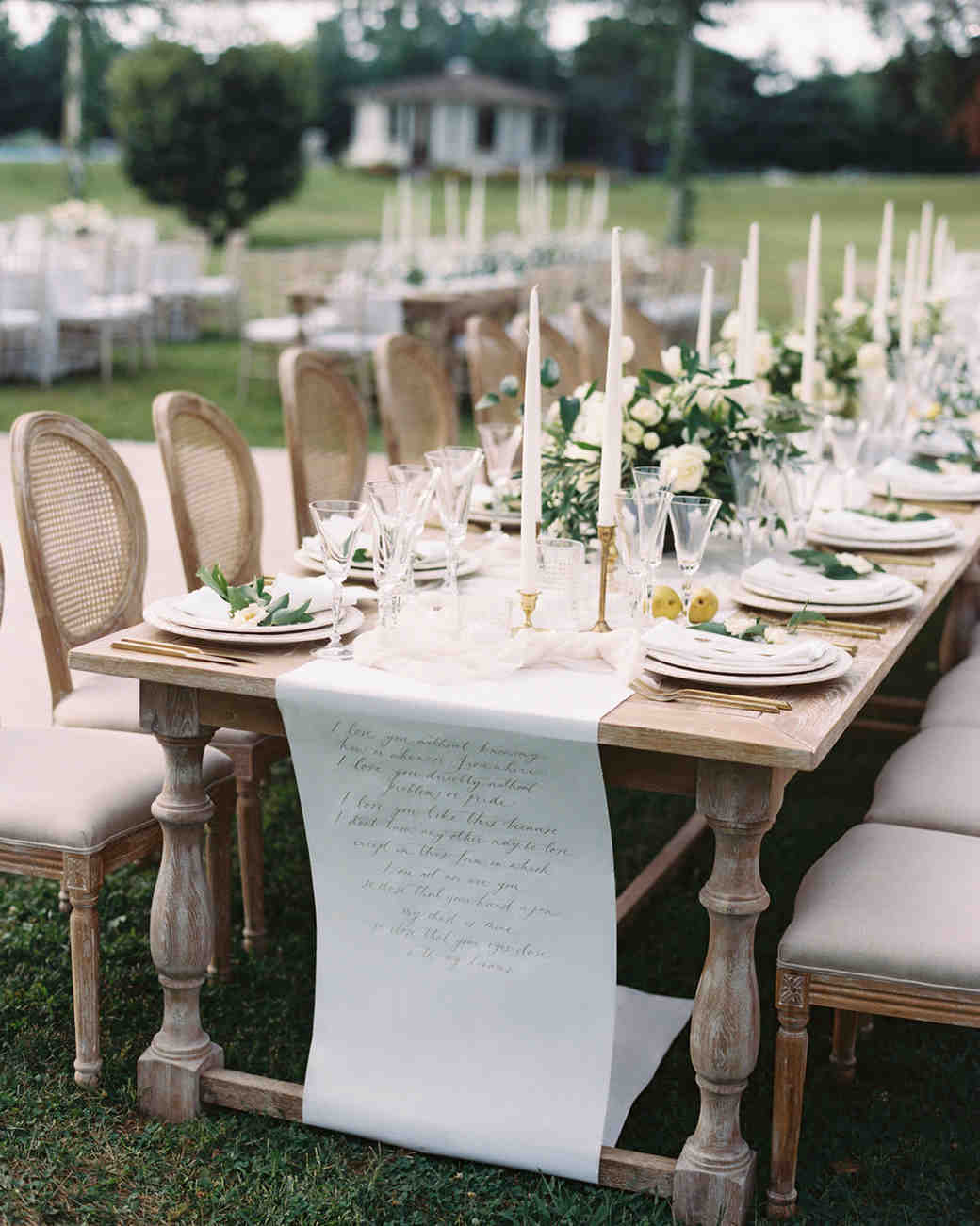 head table wedding with paper scroll runner