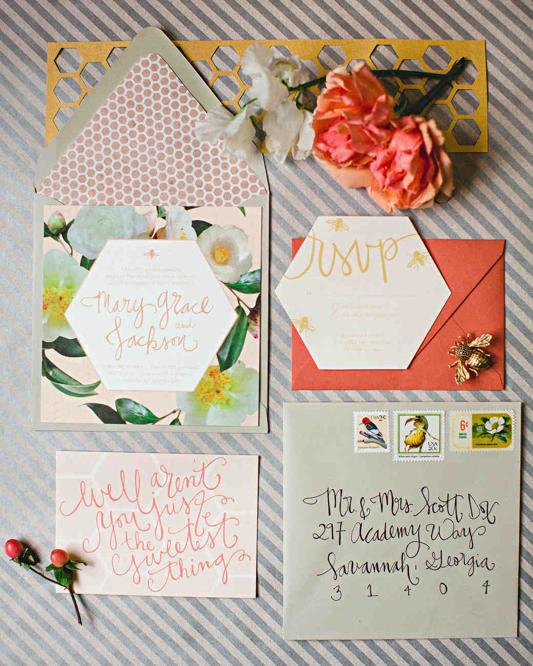 Honeycomb Wedding Inspiration, Invitation Suite with Honeycomb Motif