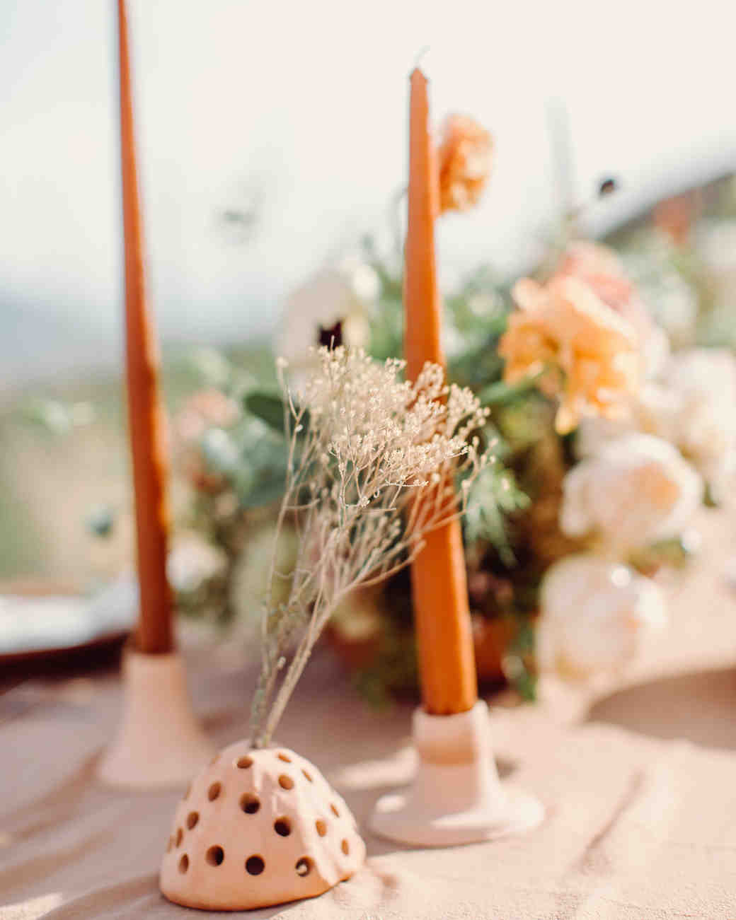 orange modern wedding centerpiece
