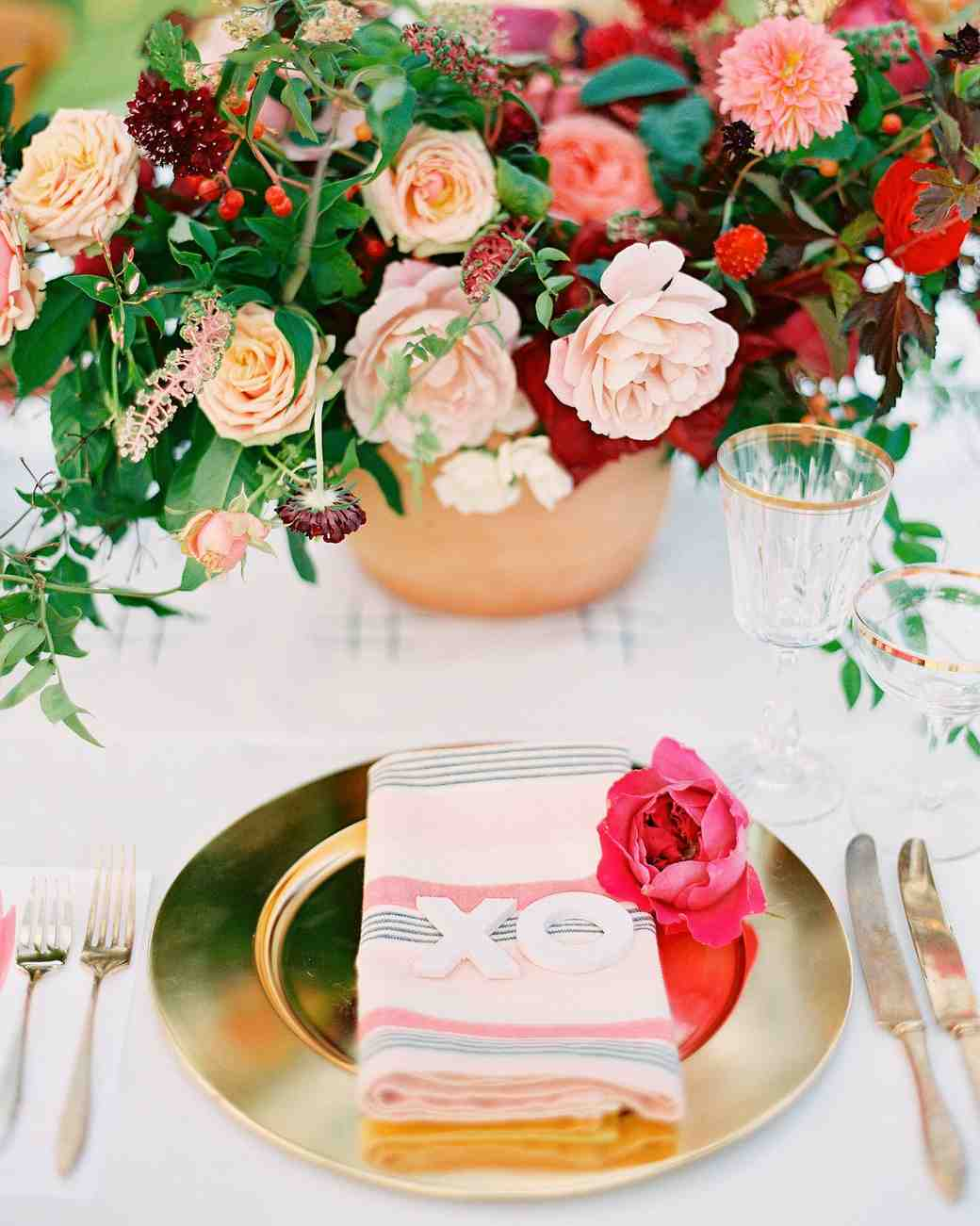 Pink and Gold Wedding Decor with Gold Chargers and Rose Centerpieces
