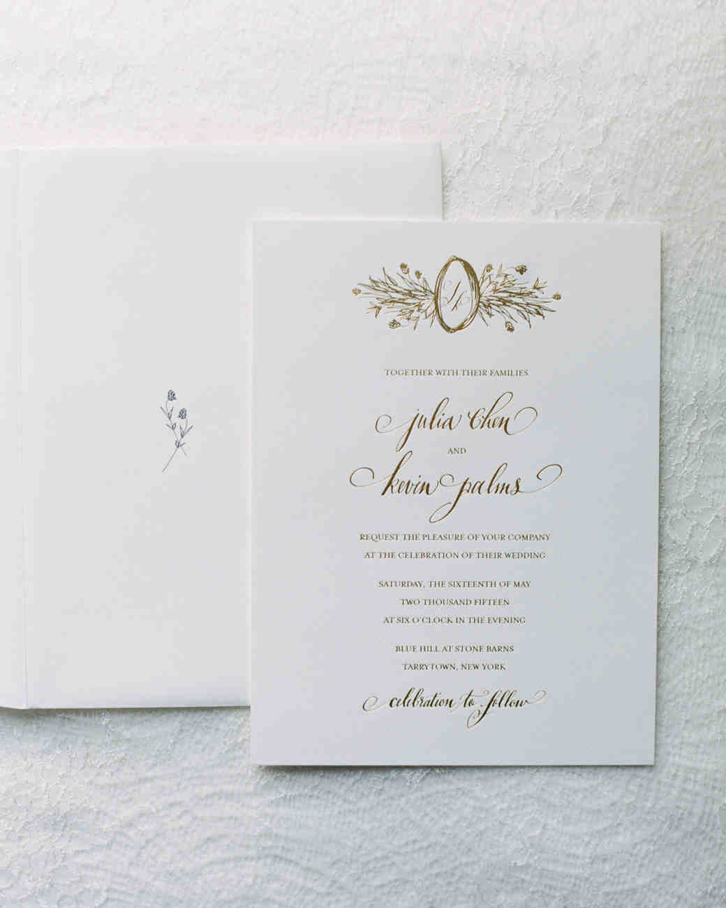 white and gold classic wedding invitation