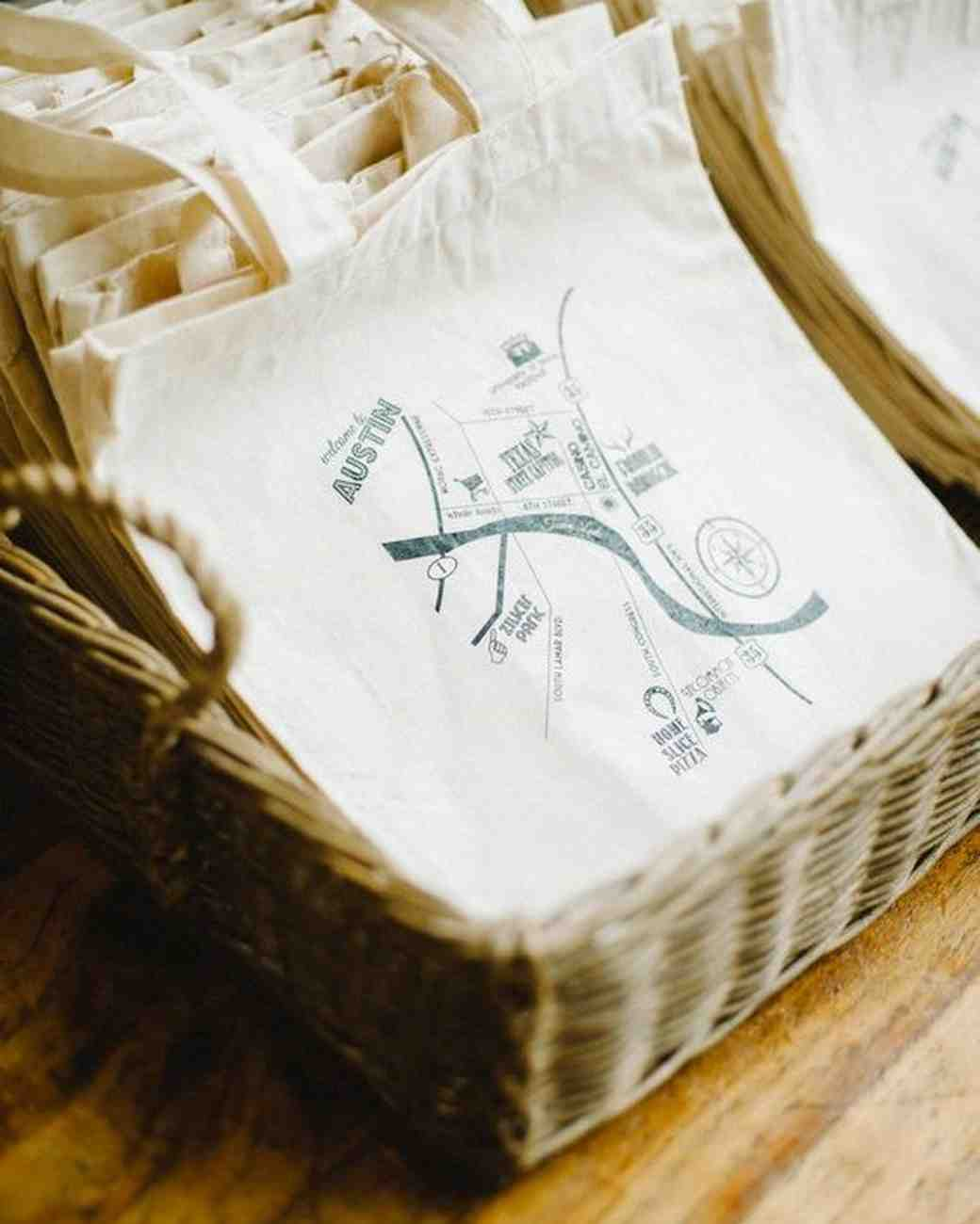 compass wedding ideas welcome map on canvas bags