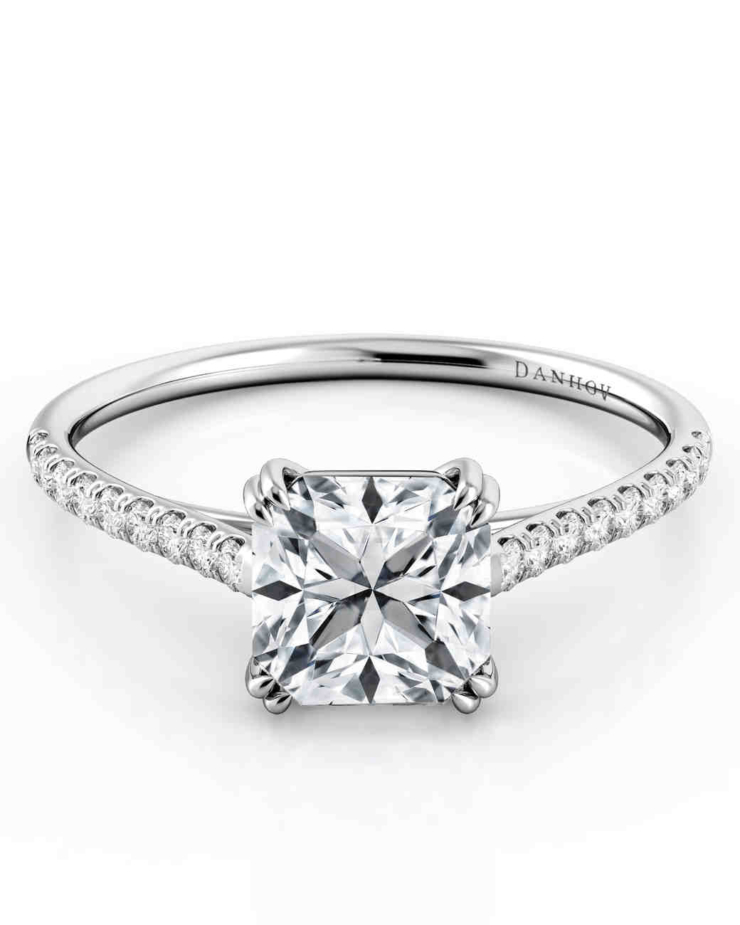 Danhov Classico asscher-cut solitaire diamond in 18k white gold with diamond shank engagement ring