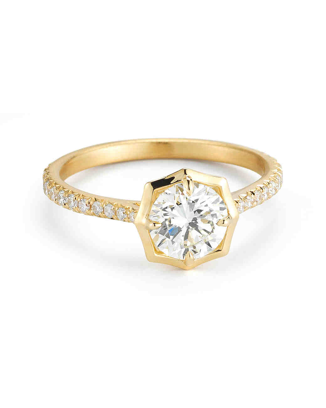 Forevermark by Jade Trau yellow gold engagement ring with pave band and round-cut diamond