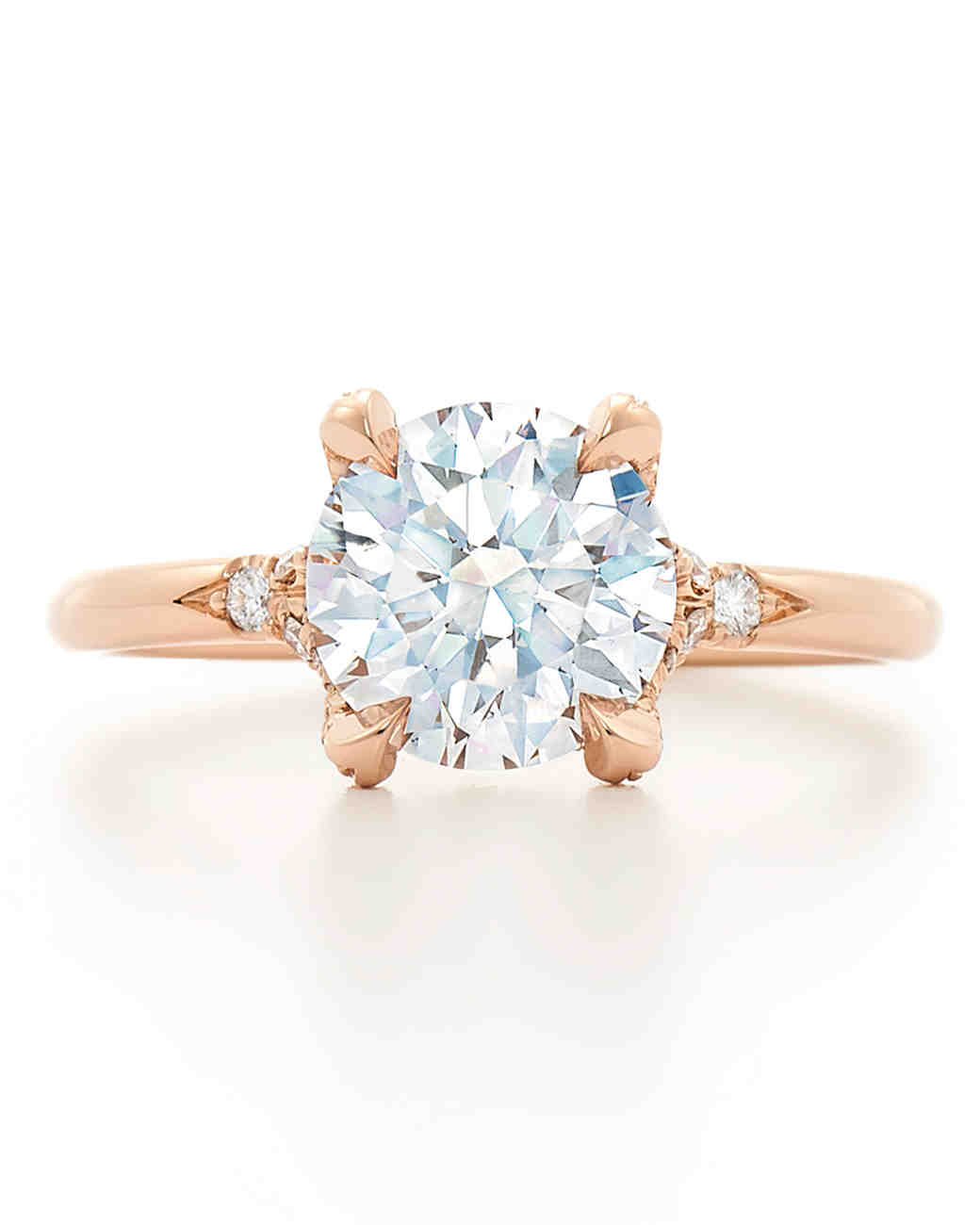 Kwiat Round-Cut Diamond Engagement Ring on Rose Gold Setting