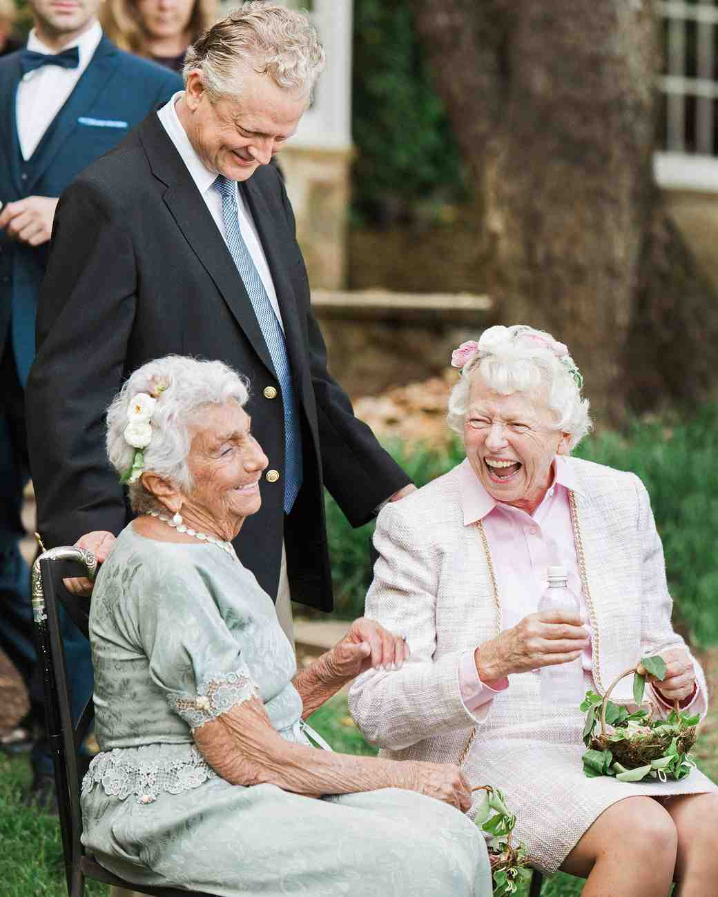 Grandmothers Wearing Flower Crowns at Wedding