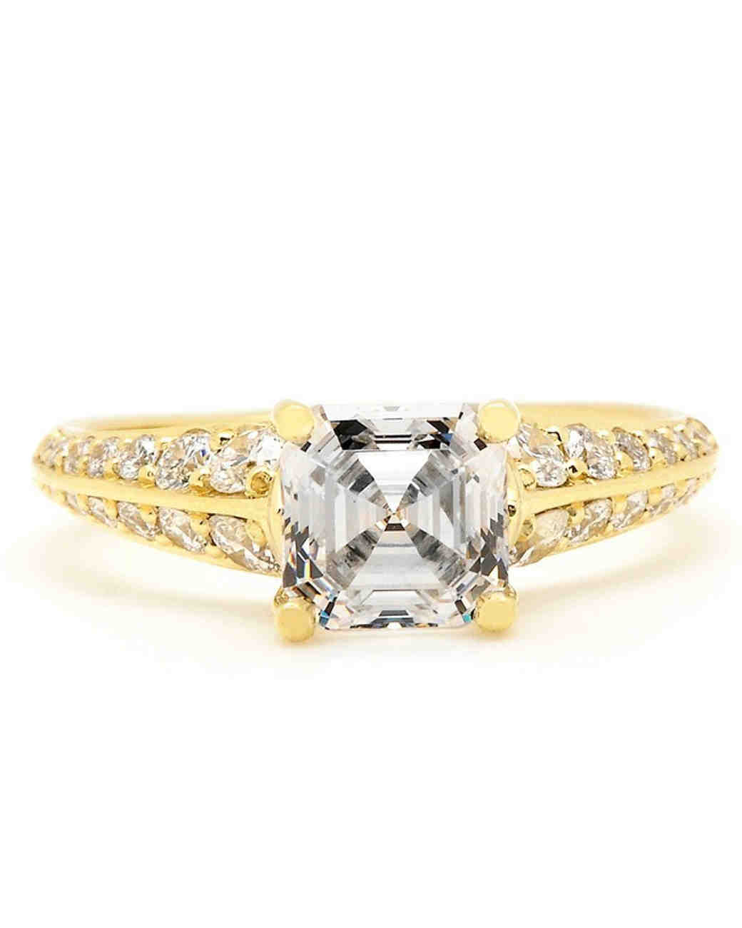 Sholdt Asscher-Cut Knife-Edge Gold Band Engagement Ring