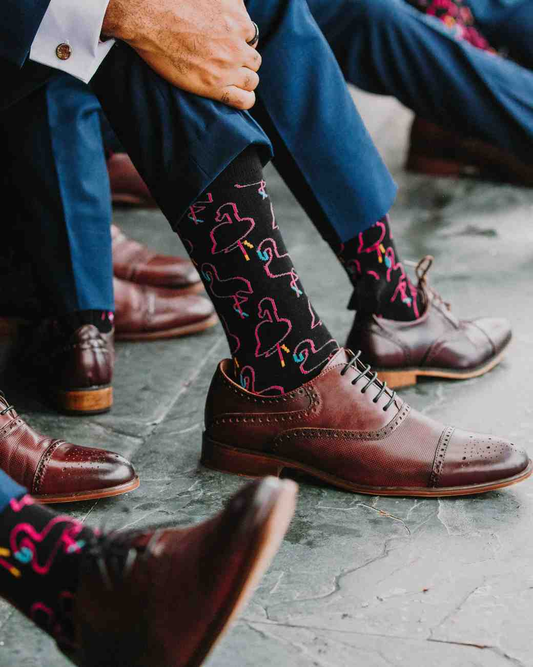 groomsmen brown leather shoes black flamingo socks
