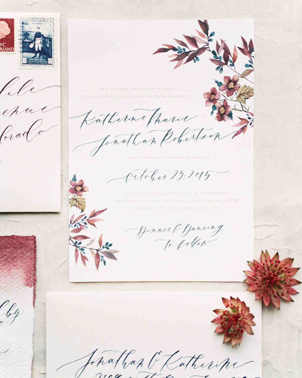 The loveliest watercolor wedding invitations martha stewart weddings red blue white and green watercolor wedding invitations junglespirit Image collections
