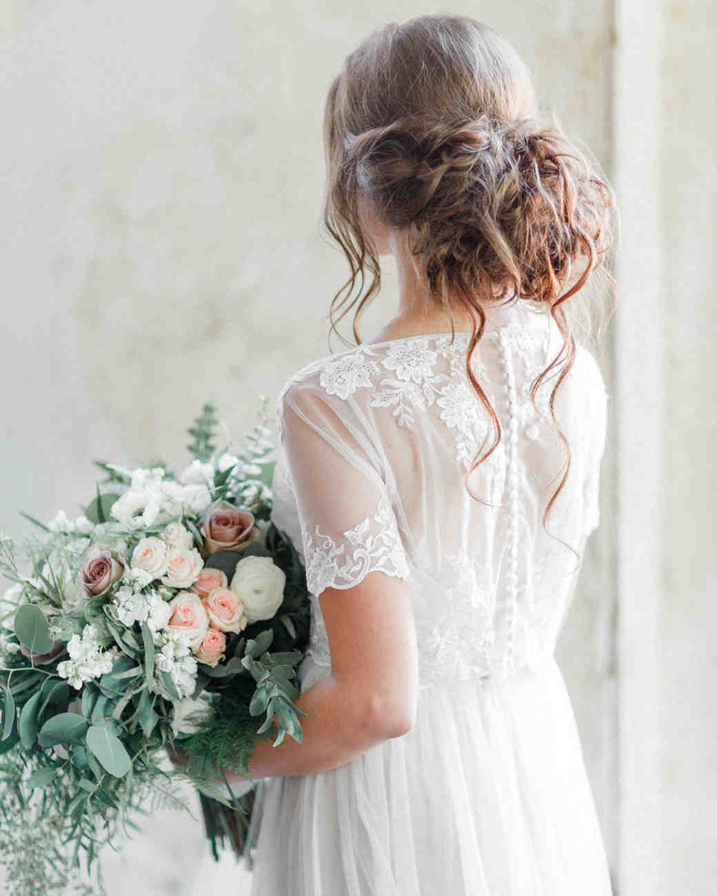 wedding dresses with buttons sheer overlay short sleeves