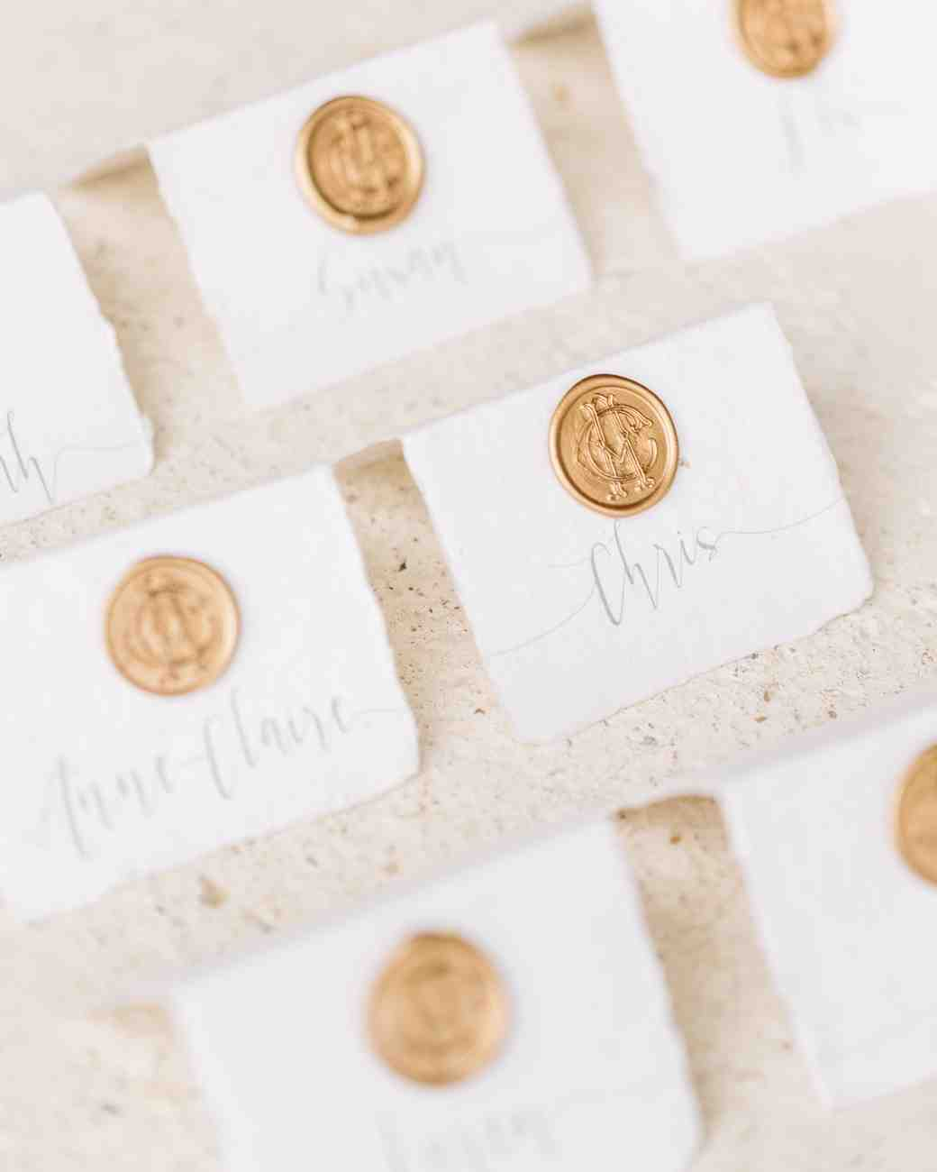 Gold Wax Seal Escort Cards