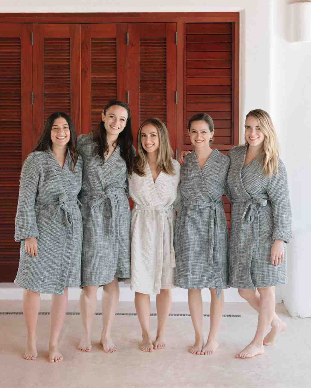 ariel trevor wedding tulum mexico getting ready robes