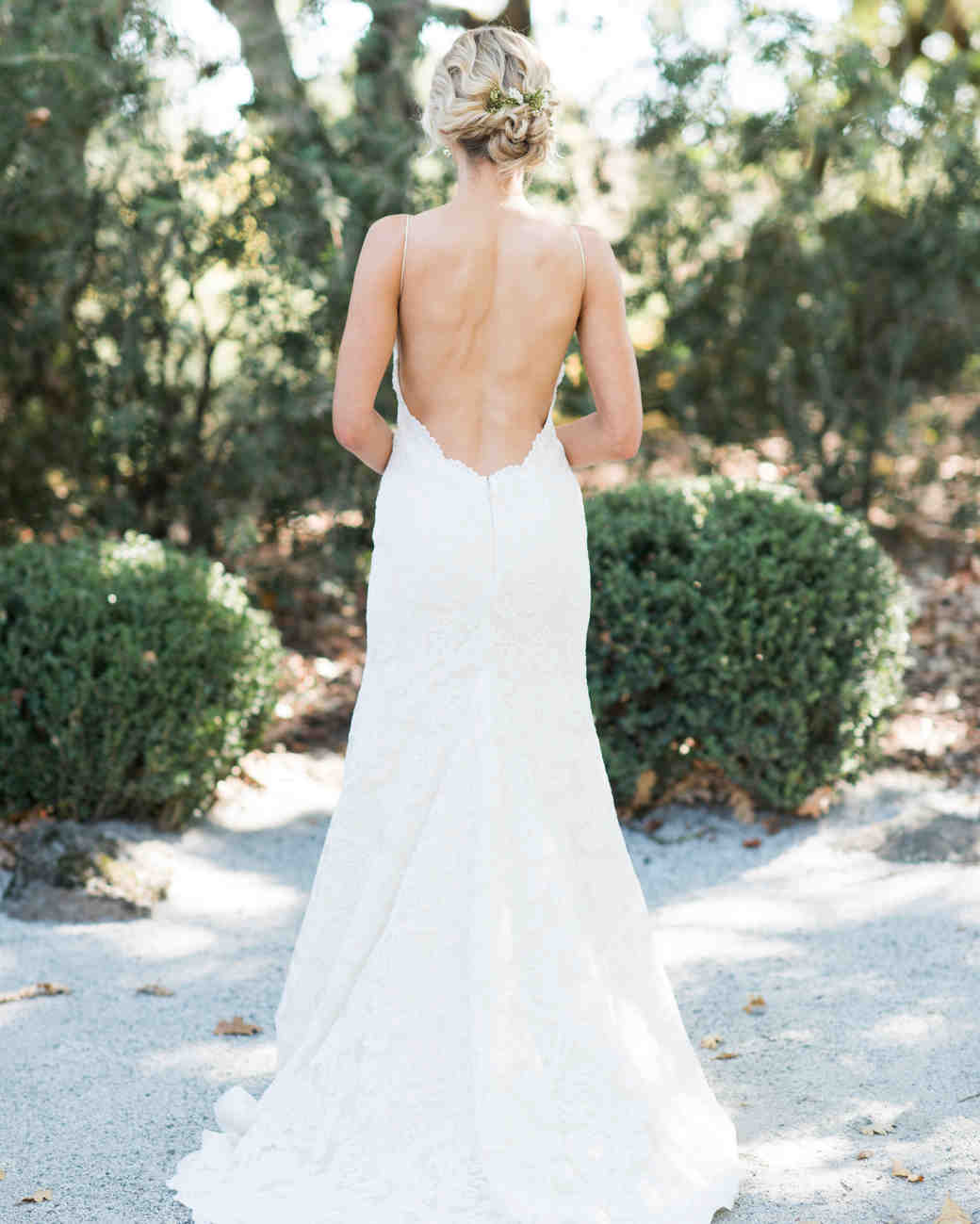 A Bride Wearing an Open-Back Wedding Dress