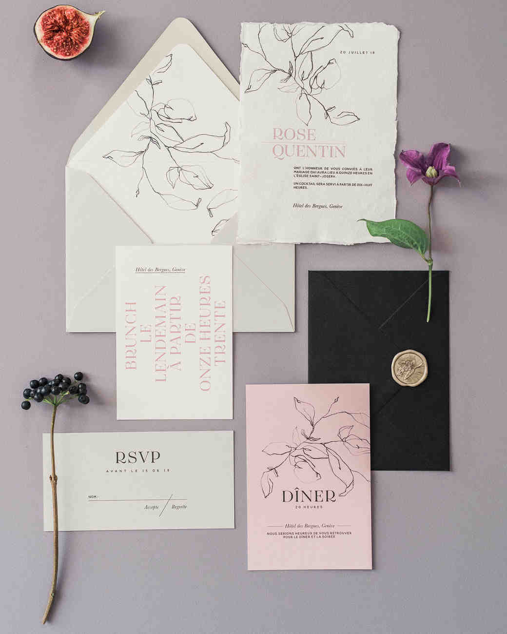 gray and pink wedding stationery horizontal