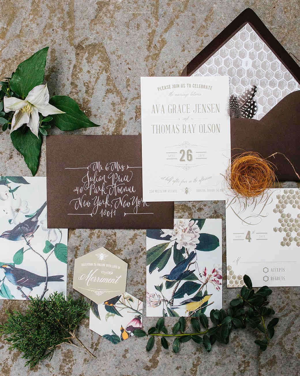 Honeycomb Wedding Inspiration, Invitation Suite with Honeycomb Liner and Motif on Invite