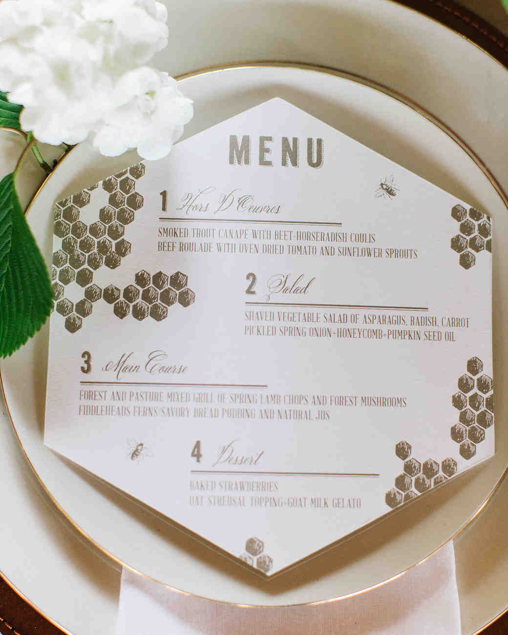 Honeycomb Wedding Inspiration, Menu Card with Honeycomb Pattern