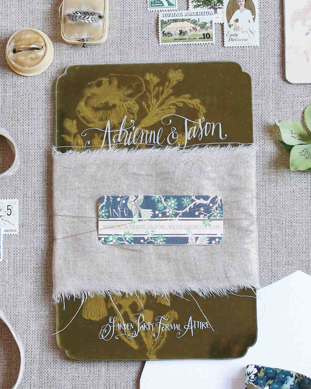 velvet wedding invitation