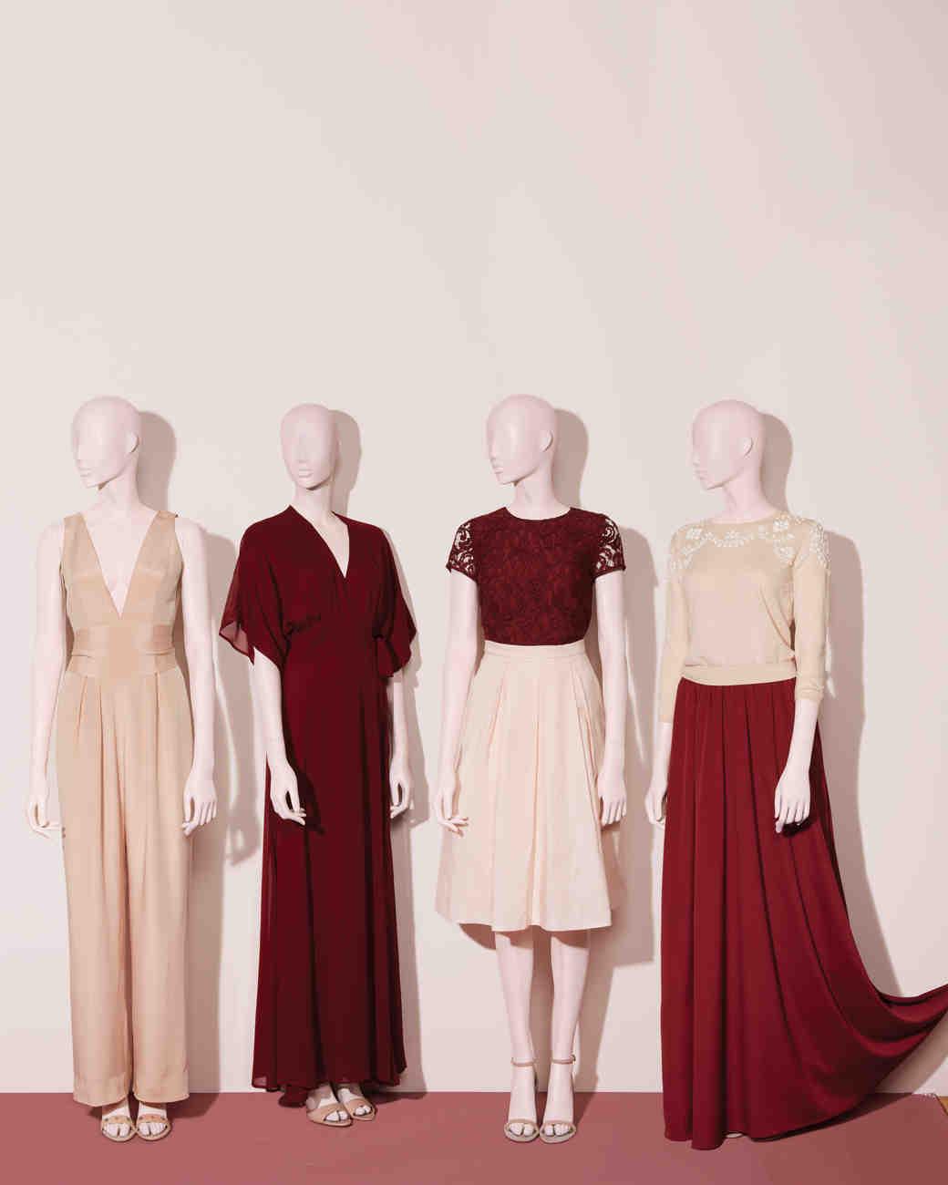 blush berry bridesmaids dresses on mannequin